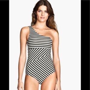 H&M one shoulder striped bathing suit